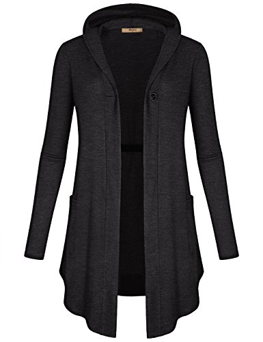 Hooded Wrap Cardigan - Miusey Tunic Tops for Leggings for Women, Ladies V Neck Fashion Hoodies One Button Shirt Plain Pleated Wrap Swing Knit Open Front Cardigan Dark Grey M