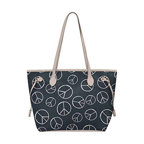 - InterestPrint Womens Handbags Ladies Purses Shoulder Bags Tote Bag Hippy Pacific Sign Hippie Peace Sign