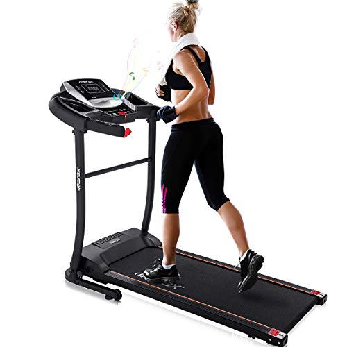 Merax Electric Folding Treadmill Easy Assembly Fitness Motorized Running Jogging Machine with Speakers for Home Use, 12 Preset Programs