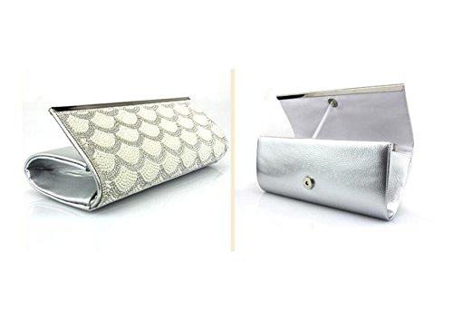 GSHGALadies Bolsos Bolso De Hombro Para Mujeres Paquete De Abalorios De Diamante En Forma De Abanico,Silver Silver