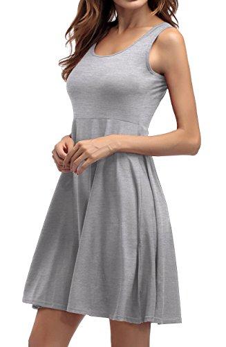 ... ZJCTUO Damen Ärmelloses Beiläufiges Strandkleid Sommerkleid Tank Kleid  Knielang Grau EP2Ju ... ccbb9a8565
