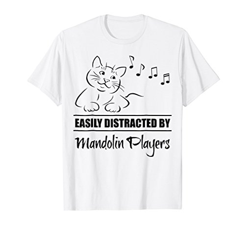 Curious Cat Easily Distracted by Mandolin Players T-Shirt