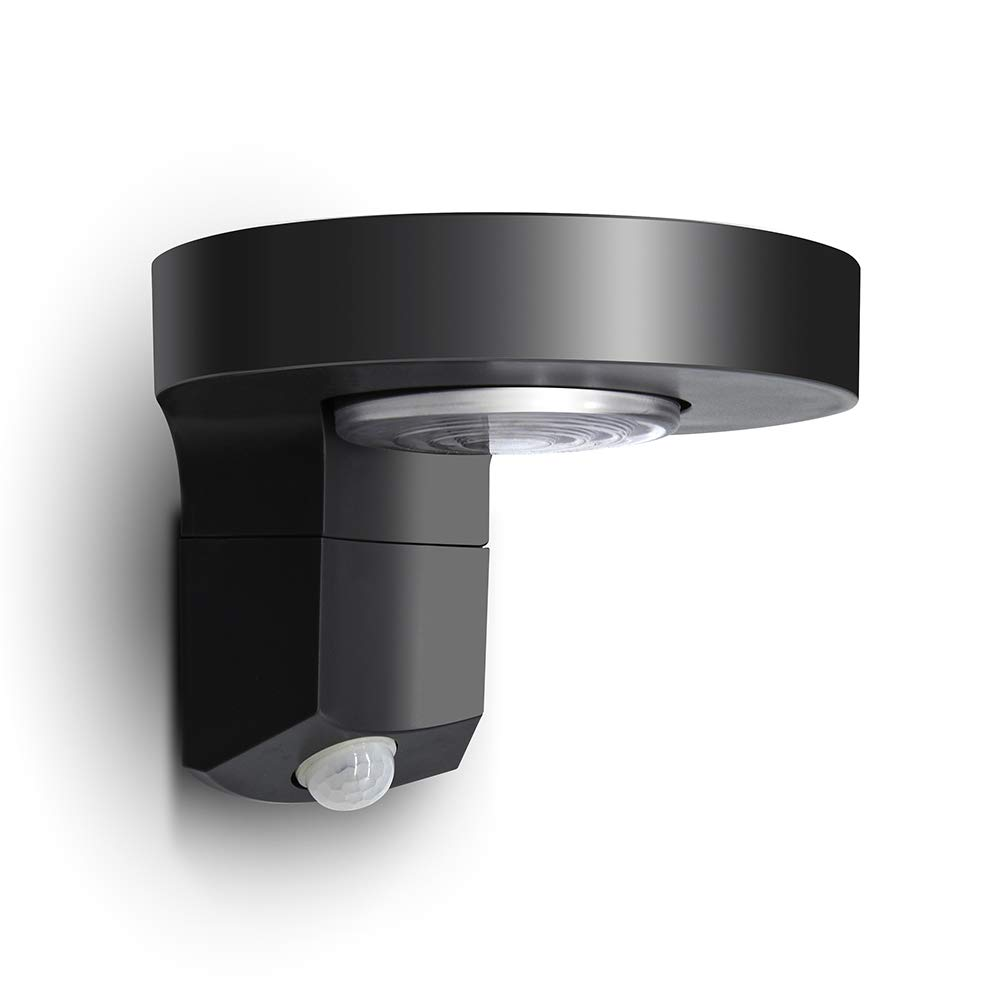 Lutec P9067-PIR 200 Lumen 2 Watt 3 Modes Switch ON Off AUTO LED Solar Ajustable PIR Motion Sensor Time Distance Lights Outdoor, IP44 Waterproof Exterior Wall Light for Patio, Garden, Yard