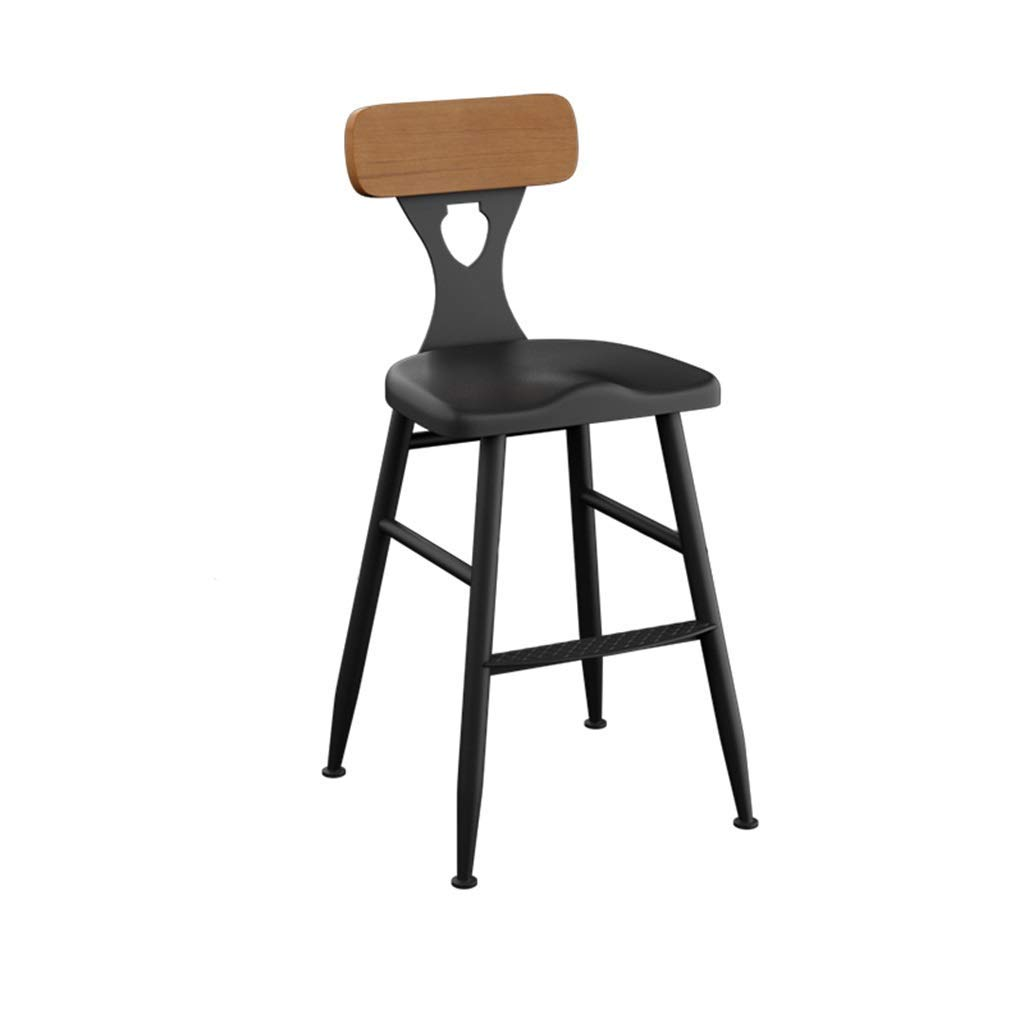 55CM LLYU Home bar Chair Black Dining Stool Kitchen Counter Commercial Chair, Ergonomic high Stool, with backrest Industrial Style Retro (Size   45cn)