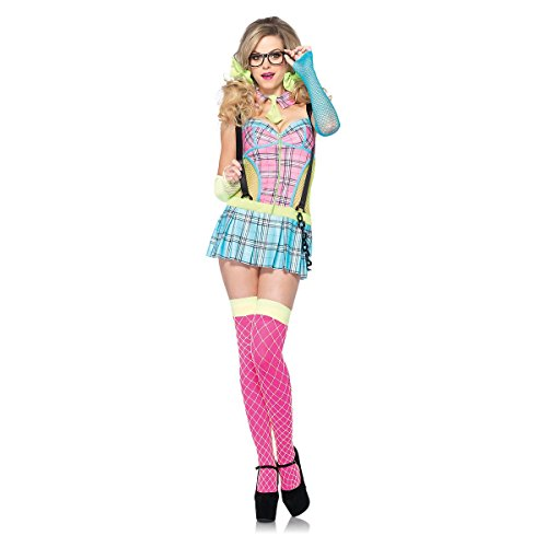 [Day Glow School Girl Adult Costume - Large] (80s Nerd Costume)