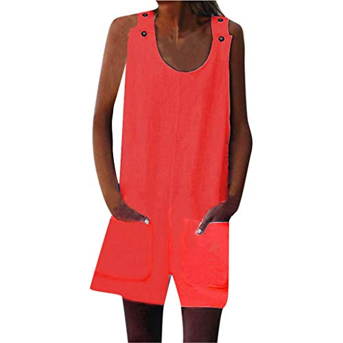 Shisay Women's Sleeveless Button Mini Shift Tank Top Jumpsuit Rompers with Pocket Dress Red