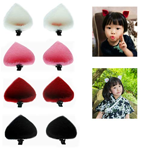 ThEast Cat ears barrette,Rabbit ears hairpin for Babies, Toddlers, Young Girls, and Children (4pairs Cat ears B) ()