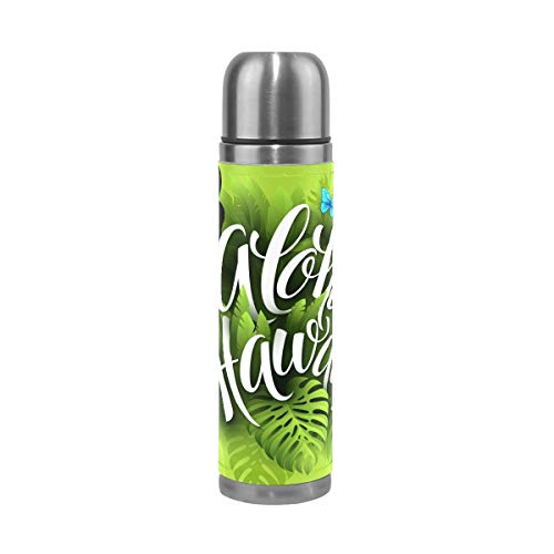 Aloha Hawaii Water Bottle Stainless Steel Leak Proof Double Walled Vacuum Insulated Travel Coffee Mug Genuine Leather Cover Drink Cup 17 oz by senya