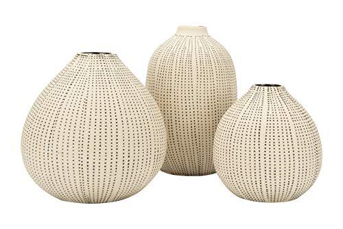 Creative Co-op White Stoneware Textured Black Polka Dots (Set of 3 Sizes) ()