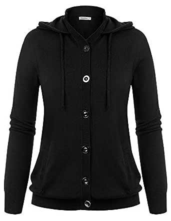 Women Knit Cardigan Jacket Warm Drawstring Button Down Open Front Sweater Tops Black S