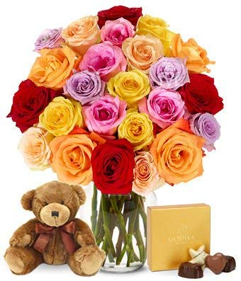 Flowers - Two Dozen Rainbow Roses with Godiva & Bear (Free Vase Included) by From You Flowers (Image #7)