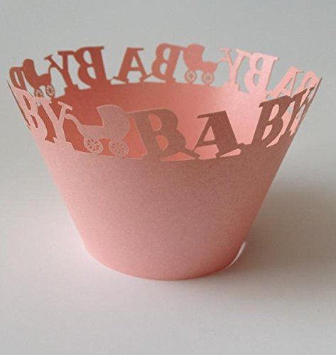 12 pcs Baby Carriage Cupcake Wrappers Wrapper for Standard Size Cupcake Liners (Peach Coral)
