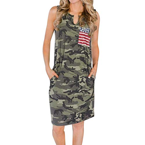 KINGOLDON T Shirt Dresses for Women Fashion Women Sleeveless Dresses Camouflage Printing Dress