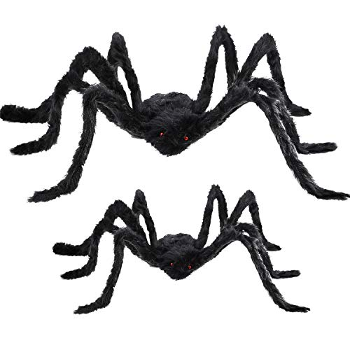 Boao 2 Pieces Fake Spider Decorations, Halloween Spiders, Outdoor Halloween Spider, Scary Spider Halloween Decorations (Black, 2 Sizes)]()
