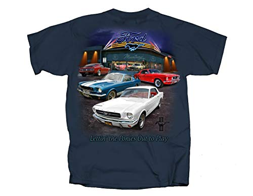 Ford Mustang Showroom/Various Mustangs Men's T Shirt (XL) Blue (Used Mustang 2 Front End For Sale)