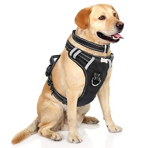 WINSEE Dog Harness, No-Pull Walking Pet Vest Harness with Handle and Front/Back Leash Attachments, Reflective Adjustable Oxford Material Easy Control Harness Black for Large Dog (Dog Collar Included) - Training Collar D-ring