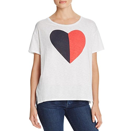 Sundry Women's Splt Heart Loose Tee, White, 2