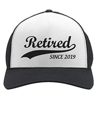 Retired Since 2019 - Cool Retirement Gift Idea Retiring Trucker Hat Mesh Cap One Size Black/White