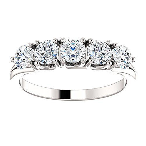 1.00 ct Ladies Round Cut Diamond Anniversary Ring in 18 kt White Gold