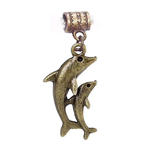 Baby Dolphin Charm - Dolphin Mother and Baby Beach Bronze Dangle Charm for European Bead Bracelets Crafting Key Chain Bracelet Necklace Jewelry Accessories Pendants