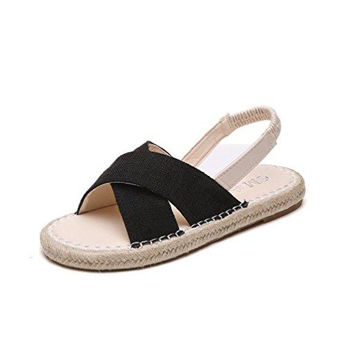 Chaussures Talons Sandales Ouvertes À Sandales Mode Paille Plates Plateforme l'extérieur Noir de de xTFTI1wqz