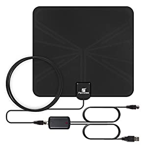 158A TV Antenna, Paxcess Indoor Amplified HDTV Antenna 50 Miles Range Leaf Antenna with Detachable Amplifier Signal Booster, USB Power Supply, 16.5ft Coax Cable for Digital TV Indoor ¡­