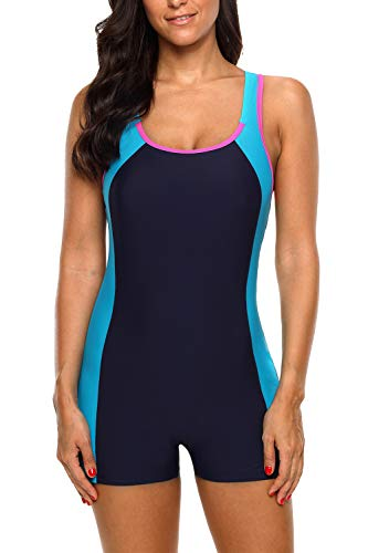 CharmLeaks Women's Full Coverage One Piece Bathing Suit Medium Neck Competition Swimsuit Blue ()