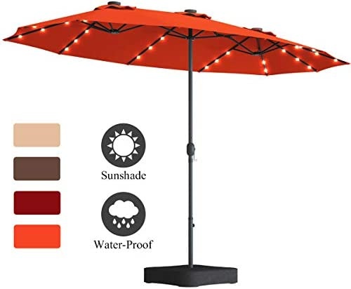 Tangkula 15 Ft Solar LED Patio Double-Sided Umbrella with Base, Outdoor Twin Umbrella, Extra Large Umbrella w 36 Solar Powered LED Lights Crank System for Garden, Deck, Poolside, Patio Orange