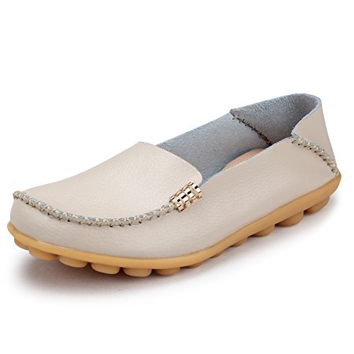 Ponyka Women's Leather Loafers Flats Casual Round Toe Moccasins Wild Breathable Driving Shoes Beige