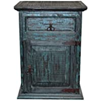 Turquoise Scraped Nightstand - Western - Rustic - Real Wood - Bedside Table
