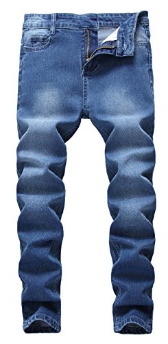 Boy's Ripped Skinny Jeans Destroyed Stretch Slim Distressed Pants (10, Dark Blue)