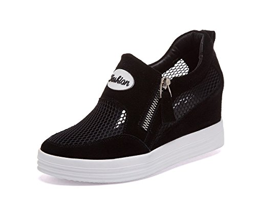 No.66 Town Womens Premium Mesh Casual Walking Shoes Wedges Platform loafers Black