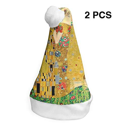 YISHOW Gustav Klimt The Kiss Classic Handmade Soft Christmas Hat and Santa Hats (2pcs)