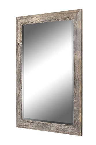 "Hitchcock Butterfield Antique Weathered Grey Framed Wall Mirror, 24"" x 60"" - Made In USA 4 Hooks for Vertical or Horizontal Installation Non Beveled Glass - bathroom-mirrors, bathroom-accessories, bathroom - 41tailVk77L -"