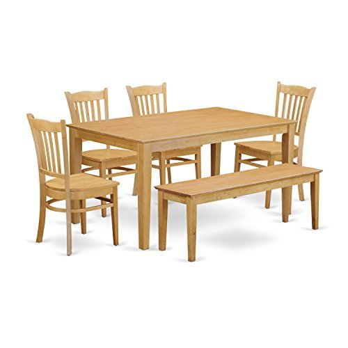 East West Furniture CAGR6-OAK-W 6-Pc Set-Dining Table and 4 Kitchen Chairs and Bench, 6 Pieces, Oak