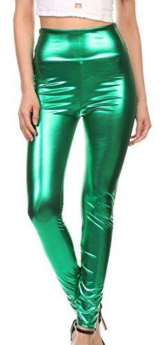 Sakkas 2616 Shiny Liquid Metallic High Waist Stretch Leggings - Green - L -