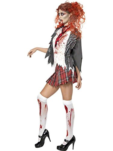 KiKi Wendy Women Horror Zombie Schoolgirl Costume Blooded Student Uniform Halloween Outfit (Small) (Zombie Schoolgirl Halloween Makeup)