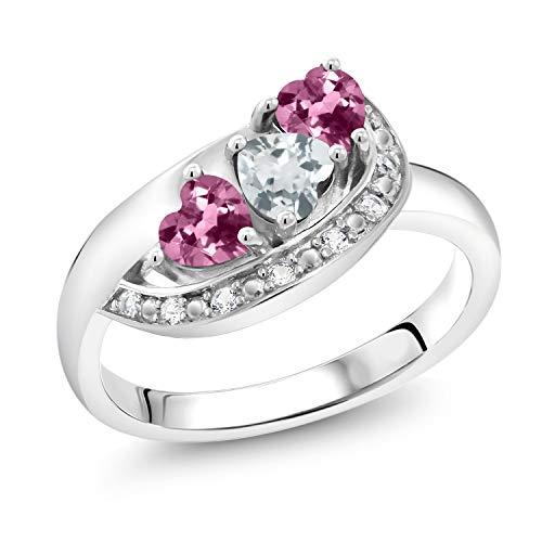 Gem Stone King 0.74 Ct Heart Shape Sky Blue Aquamarine Pink Tourmaline 925 Sterling Silver Ring (Size 8) Aquamarine Pink Sapphire Ring