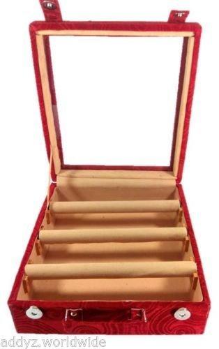 Kuber Industries 3 Rods Transparent Bangle Organizer Box Velvet Coated Jewelry Storage Case
