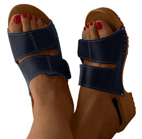Comfort Line Women's Natural Leather Clogs with Buckle/Back Strap Navy Blue nsZoKQxMiQ