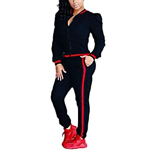 Casual Long Sleeve Zip Up Jacket and Pants Sweatsuits Tracksuits 2 Pieces Outfits For Ladies Black 3X