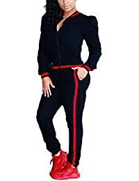 8156dd0db18 Women s 2 Pieces Outfits Long Sleeve Zipper Jacket and Pants Set Tracksuits