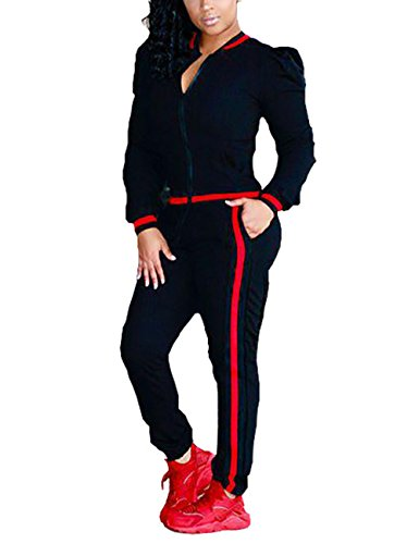 Casual Long Sleeve Zip Up Jacket and Pants Tracksuits 2 Pieces Outfits for Ladies Black 2X