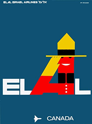 MAGNET ELAL Israel Airlines Canada Mountie Vintage Airline Canadian Travel Art Magnet ()