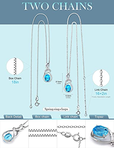 HXZZ Fine Jewelry Gifts for Women Natural Gemstone Swiss Blue Topaz Sterling Silver Pendant Necklace…