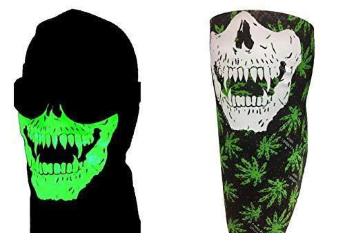 Reversible Glow in the Dark Stoner Vampire Fangs Skull Face Mask Weed 420 Happy Hippy Cannabis Adjustable Close Cotton Bandana