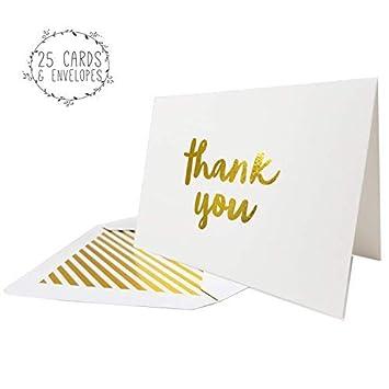 Amazon.com: Tarjetas de agradecimiento., Dorado: Office Products