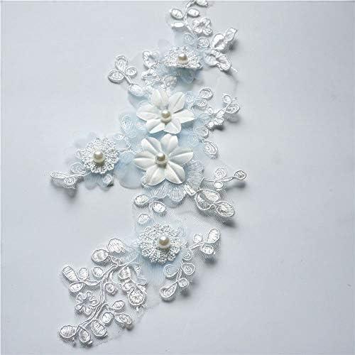 1ペア刺繍真珠レースアップリケ縫製生地ウェディングドレス花嫁diy工芸品
