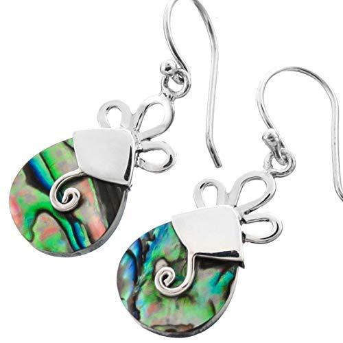 - 13/16'' Lavish PAUA Abalone Shell 925 Sterling Silver Earrings YE-988