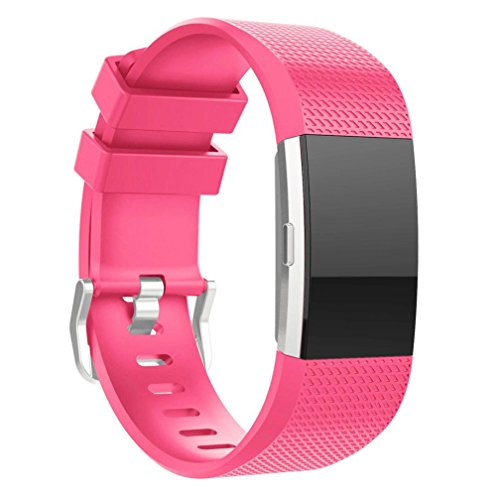 For Fitbit Charge 2 Bnads, FreshZone New Fashion Sports Silicone Bracelet Strap Band For Fitbit Charge 2, Small (Small 5.9-9.15, Hot Pink)